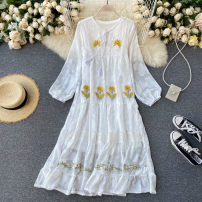 Dress Autumn 2020 white Average size longuette singleton  Long sleeves commute Crew neck High waist Solid color Socket A-line skirt puff sleeve Others 18-24 years old Type A Korean version Embroidery, lace up 31% (inclusive) - 50% (inclusive) other other