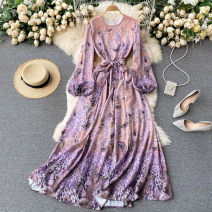 Dress Spring 2021 violet S,M,L,XL longuette singleton  Long sleeves commute Crew neck High waist Decor Socket A-line skirt puff sleeve Others 18-24 years old Type A Korean version 31% (inclusive) - 50% (inclusive) other other