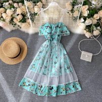Dress Summer 2020 Average size Short skirt singleton  commute square neck High waist Decor Socket A-line skirt camisole 18-24 years old Type A Korean version Gauze 31% (inclusive) - 50% (inclusive) other other