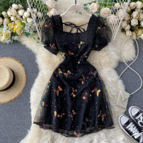 Dress Summer 2020 black S,M,L Short skirt singleton  Short sleeve commute square neck High waist Solid color Socket A-line skirt puff sleeve Others 18-24 years old Type A Korean version Gauze 31% (inclusive) - 50% (inclusive) other other