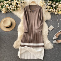 Dress Autumn 2020 Khaki, apricot, blue, black Average size Middle-skirt singleton  Long sleeves commute Polo collar High waist Solid color Socket A-line skirt routine Others 18-24 years old Type A Korean version 31% (inclusive) - 50% (inclusive) other other