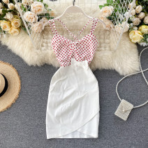 Dress Summer 2020 white S,M,L Short skirt singleton  commute square neck High waist Solid color Socket A-line skirt camisole 18-24 years old Type A Korean version Splicing 31% (inclusive) - 50% (inclusive) other other