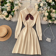 Dress Autumn 2020 Black, red, apricot Average size Short skirt singleton  Long sleeves commute Crew neck High waist Solid color zipper Big swing routine Others 25-29 years old Type A Korean version 30% and below knitting other