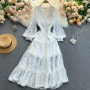 Dress Spring 2021 white M,L,XL,2XL Mid length dress singleton  Long sleeves commute V-neck High waist Solid color Socket A-line skirt puff sleeve Others 18-24 years old Type A Korean version 31% (inclusive) - 50% (inclusive) other other