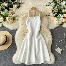 Dress Spring 2021 Black, white S, M Short skirt singleton  commute Crew neck High waist Solid color Socket A-line skirt Hanging neck style 18-24 years old Type A Korean version backless 31% (inclusive) - 50% (inclusive) other other