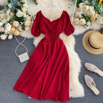 Dress Summer 2020 Black, red, green S,M,L Middle-skirt singleton  Short sleeve commute V-neck High waist Solid color Socket Big swing puff sleeve Others 18-24 years old Type A Korean version Fold, Auricularia auricula 31% (inclusive) - 50% (inclusive) other other