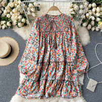Dress Spring 2021 orange Average size Short skirt singleton  Long sleeves commute V-neck High waist Decor Socket A-line skirt puff sleeve Others 18-24 years old Type A Korean version 31% (inclusive) - 50% (inclusive) other other