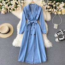 Dress Autumn 2020 blue S,M,L Middle-skirt singleton  Long sleeves commute V-neck High waist Solid color Socket A-line skirt puff sleeve Others 18-24 years old Type A Korean version Bandage 31% (inclusive) - 50% (inclusive) other other