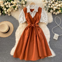 Dress Spring 2021 Black, yellow, red, blue, pink, orange, watermelon red Average size Short skirt singleton  Short sleeve commute Polo collar High waist Solid color Socket A-line skirt puff sleeve Others 18-24 years old Type A Korean version Splicing 31% (inclusive) - 50% (inclusive) other other