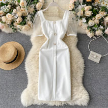 Dress Summer 2020 white S,M,L Short skirt singleton  Short sleeve commute square neck High waist Solid color Socket A-line skirt puff sleeve Others 18-24 years old Type A Korean version Splicing 31% (inclusive) - 50% (inclusive) other other