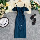 Dress Summer 2020 Dark green, white, black, pink, yellow, red Average size Short skirt singleton  Short sleeve commute V-neck High waist Solid color Socket A-line skirt Flying sleeve camisole 18-24 years old Type A Korean version 30% and below Chiffon