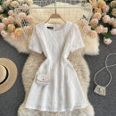 Dress Summer 2021 Black, white M, L Short skirt singleton  Short sleeve commute Crew neck High waist Solid color Socket A-line skirt routine Others 18-24 years old Type A Korean version 31% (inclusive) - 50% (inclusive) other other