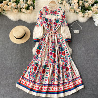 Dress Spring 2021 Black, apricot Average size longuette singleton  Long sleeves commute Crew neck High waist other Socket A-line skirt puff sleeve Others 18-24 years old Type A Korean version 31% (inclusive) - 50% (inclusive) other other