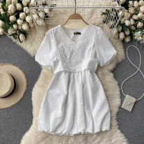 Dress Summer 2021 Black, white M, L Short skirt singleton  Short sleeve commute V-neck High waist Solid color Socket A-line skirt puff sleeve Others 18-24 years old Type A Korean version 31% (inclusive) - 50% (inclusive) other other