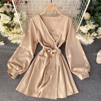 Dress Autumn of 2019 khaki Average size Short skirt singleton  Long sleeves commute V-neck High waist Solid color Socket A-line skirt puff sleeve Others 18-24 years old Type A Korean version Frenulum 31% (inclusive) - 50% (inclusive) other other