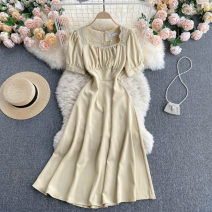 Dress Summer 2021 M,L,XL Middle-skirt singleton  Short sleeve commute square neck High waist Solid color Socket A-line skirt puff sleeve Others 18-24 years old Type A Korean version 31% (inclusive) - 50% (inclusive) other other