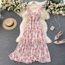 Dress Summer 2021 Apricot, black, blue, pink Average size longuette singleton  Sleeveless commute V-neck High waist Decor Socket Big swing routine Others 18-24 years old Type A Korean version 31% (inclusive) - 50% (inclusive) other other