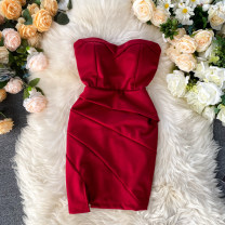 Dress Spring 2020 Black, white, blue, red Average size Short skirt singleton  commute V-neck High waist Solid color Socket One pace skirt Breast wrapping 18-24 years old Type X Korean version Pleated, zipper 31% (inclusive) - 50% (inclusive) other other