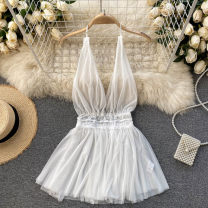 Dress Spring 2021 Black, white Average size Short skirt singleton  commute V-neck High waist Solid color Socket A-line skirt camisole 18-24 years old Type A Korean version 31% (inclusive) - 50% (inclusive) other other