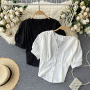 Lace / Chiffon Summer 2021 White, black Average size Short sleeve commute Socket singleton  Self cultivation have cash less than that is registered in the accounts V-neck Solid color puff sleeve 18-24 years old Korean version 31% (inclusive) - 50% (inclusive)