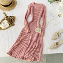 Dress Summer 2020 Average size Middle-skirt singleton  Long sleeves commute Crew neck High waist Solid color Socket A-line skirt routine Others 18-24 years old Type A Korean version 30% and below knitting other
