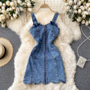 Dress Spring 2021 blue S,M,L Short skirt singleton  commute square neck High waist Solid color zipper A-line skirt camisole 18-24 years old Type A Korean version 31% (inclusive) - 50% (inclusive) other other