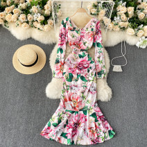 Dress Spring 2021 S,M,L,XL,2XL Mid length dress singleton  Long sleeves commute square neck High waist Decor Socket Ruffle Skirt routine Others 18-24 years old Type A Korean version 31% (inclusive) - 50% (inclusive) other other