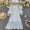 Dress Spring 2021 white Average size longuette singleton  Long sleeves commute Crew neck High waist Decor Socket Big swing puff sleeve Others 18-24 years old Type A Korean version 31% (inclusive) - 50% (inclusive) other other