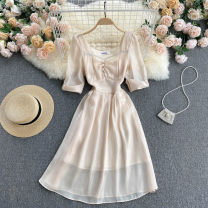 Dress Spring 2021 Apricot S,M,L Mid length dress singleton  Short sleeve commute square neck High waist Solid color Socket A-line skirt routine Others 18-24 years old Type A Korean version 31% (inclusive) - 50% (inclusive) other other
