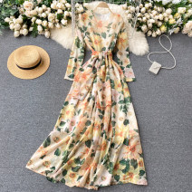 Dress Spring 2021 Green 1871, yellow 1872 M,L,XL,2XL longuette singleton  Long sleeves commute Crew neck High waist Decor Socket A-line skirt routine Others 18-24 years old Type A Korean version 31% (inclusive) - 50% (inclusive) other other