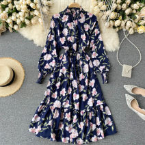 Dress Autumn 2020 Dark blue, pink, green, white S,M,L Middle-skirt singleton  Long sleeves commute stand collar High waist Decor Socket A-line skirt puff sleeve Others 18-24 years old Type A Korean version 31% (inclusive) - 50% (inclusive) other other