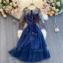 Dress Spring 2021 blue S,M,L,XL,2XL Middle-skirt singleton  Long sleeves commute Crew neck High waist Decor Socket A-line skirt routine Others 18-24 years old Type A Korean version 31% (inclusive) - 50% (inclusive) other other
