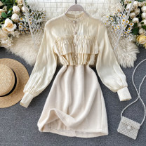 Dress Autumn of 2019 Apricot, black M, L Short skirt singleton  Long sleeves commute Crew neck High waist Solid color Socket A-line skirt puff sleeve Others 18-24 years old Type A Korean version Ruffles, stitching, beads, buttons 31% (inclusive) - 50% (inclusive) other other