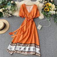 Dress Summer 2020 Orange S,M,L longuette singleton  Short sleeve commute V-neck High waist Decor other A-line skirt routine Others 18-24 years old Type A Korean version Lace up, printed 31% (inclusive) - 50% (inclusive) other other
