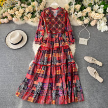 Dress Summer 2020 Average size Mid length dress singleton  Long sleeves commute V-neck High waist other Socket A-line skirt puff sleeve Others 18-24 years old Type A Korean version 31% (inclusive) - 50% (inclusive) other other