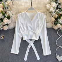 shirt Black, white Average size Autumn 2020 other 31% (inclusive) - 50% (inclusive) Long sleeves commute Short style (40cm < length ≤ 50cm) V-neck routine Solid color 18-24 years old Self cultivation Korean version