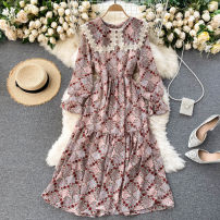 Dress Spring 2021 Dark blue, pink, dark brown Average size Mid length dress singleton  Long sleeves commute other High waist Solid color Socket A-line skirt puff sleeve Others 18-24 years old Type A Korean version 31% (inclusive) - 50% (inclusive) other other