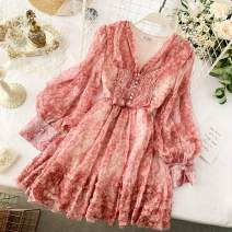 Dress Summer 2020 M, L Short skirt singleton  Long sleeves commute V-neck High waist Decor Socket A-line skirt puff sleeve Others 18-24 years old Type A Korean version Ruffles, folds, Auricularia auricula, buttons More than 95% Chiffon polyester fiber