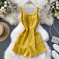 Casual pants Black, orange, apricot, blue, red, pink, yellow, caramel Average size Autumn of 2019 shorts Jumpsuit High waist commute routine 18-24 years old 31% (inclusive) - 50% (inclusive) other Korean version