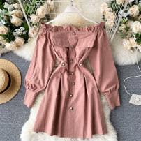 Dress Autumn 2020 Black, light gray, pink M, L Short skirt singleton  Long sleeves commute One word collar High waist Solid color Socket A-line skirt puff sleeve Others 18-24 years old Type A Korean version fungus 31% (inclusive) - 50% (inclusive) other other