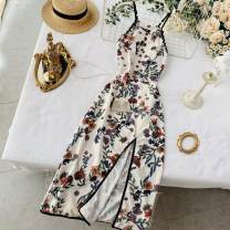 Dress Summer 2020 Decor on white background Average size Mid length dress singleton  Sleeveless commute V-neck High waist Decor Socket One pace skirt other camisole 18-24 years old Type A Korean version Stitching, wave, print 30% and below Chiffon other