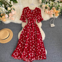 Dress Summer 2020 Average size Mid length dress singleton  Short sleeve commute V-neck High waist other Socket A-line skirt routine Others 18-24 years old Type A Bandage 31% (inclusive) - 50% (inclusive) other other