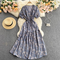 Dress Summer 2021 Average size longuette singleton  Short sleeve commute V-neck High waist Broken flowers Socket A-line skirt puff sleeve Others 18-24 years old Type A Korean version 31% (inclusive) - 50% (inclusive) other other