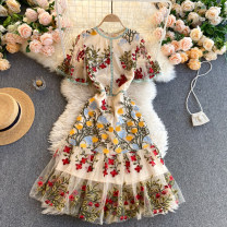 Dress Spring 2021 khaki S,M,L,XL,2XL Short skirt singleton  Short sleeve commute Crew neck High waist Decor Socket A-line skirt routine Others 18-24 years old Type A Korean version Embroidery 31% (inclusive) - 50% (inclusive) other other
