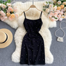 Dress Summer 2021 Black, white Average size Short skirt singleton  commute square neck High waist Solid color Socket A-line skirt routine camisole 18-24 years old Type A Korean version 31% (inclusive) - 50% (inclusive) other other