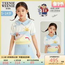 T-shirt blue teenieweenieKIDS female summer Short sleeve Lapel crew neck Sweet nothing other stripe Other 100% Class B Summer 2021 5 years old, 6 years old, 7 years old, 8 years old, 9 years old, 10 years old, 11 years old, 12 years old, 13 years old, 14 years old Chinese Mainland