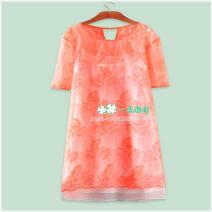 Dress Summer 2021 Graph color 155,160 Middle-skirt Two piece set Short sleeve commute Crew neck Solid color Korean version