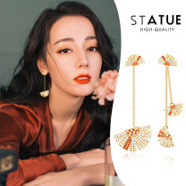 Earrings Synthetic cubic zirconia / water drill 51-100 yuan STATUE A pair of colorful skirts~ brand new female Japan and South Korea goods in stock Fresh out of the oven Gold Plated inlaid artificial gem / semi gem Bear / pig / animal