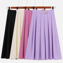 skirt Spring 2021 S M L XL Rose purple black light apricot longuette commute High waist A-line skirt Solid color Type A 18-24 years old A74 More than 95% other Meizile (clothing accessories) other fold Retro Other 100% Pure e-commerce (online only)