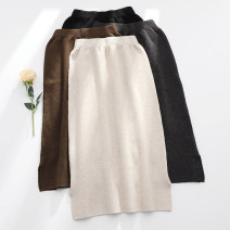 skirt Autumn 2020 Average size Light apricot dark grey brown black Mid length dress commute High waist A-line skirt Solid color Type H 25-29 years old MZLZ004 71% (inclusive) - 80% (inclusive) knitting Meizile (clothing accessories) Viscose pocket Viscose (viscose) 75.1% polyester 24.9%